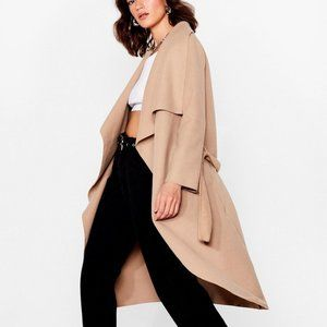 BNWT Nasty Gal Belted Waterfall Coat - Camel